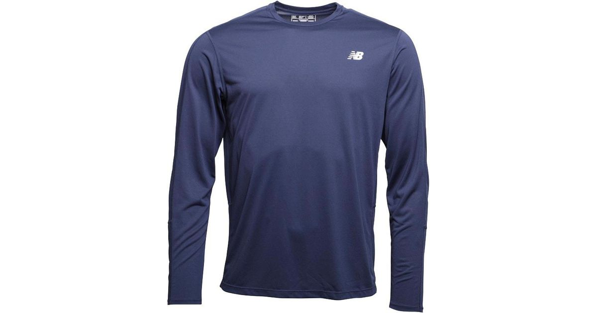 41c40bc9aa7 New Balance Accelerate Long Sleeve Running Top Pigment Navy in Blue for Men  - Lyst