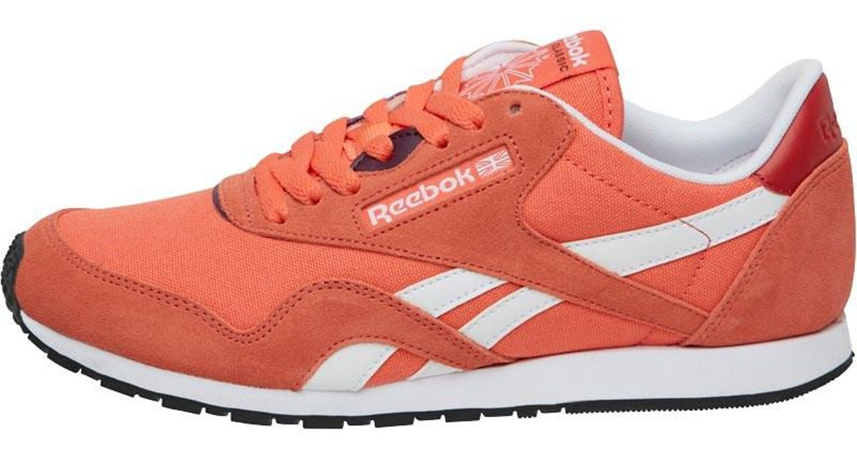 a8cde7c10b0 Reebok Nylon Slim Hv Trainers Fire Coral canyon Red white pacific Purple in  Orange - Lyst