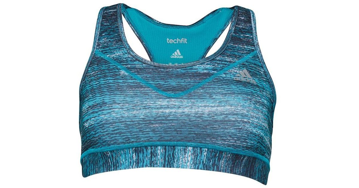 9fbdbbbd4cadd adidas Techfit Climacool Macro Heather Sports Bra Top Energy Blue print matte  Silver in Blue - Lyst