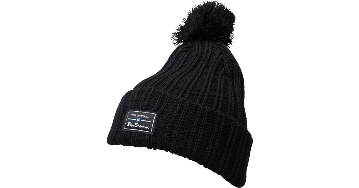 195da72e63d Ben Sherman Mccree Bobble Hat Black in Black for Men - Lyst