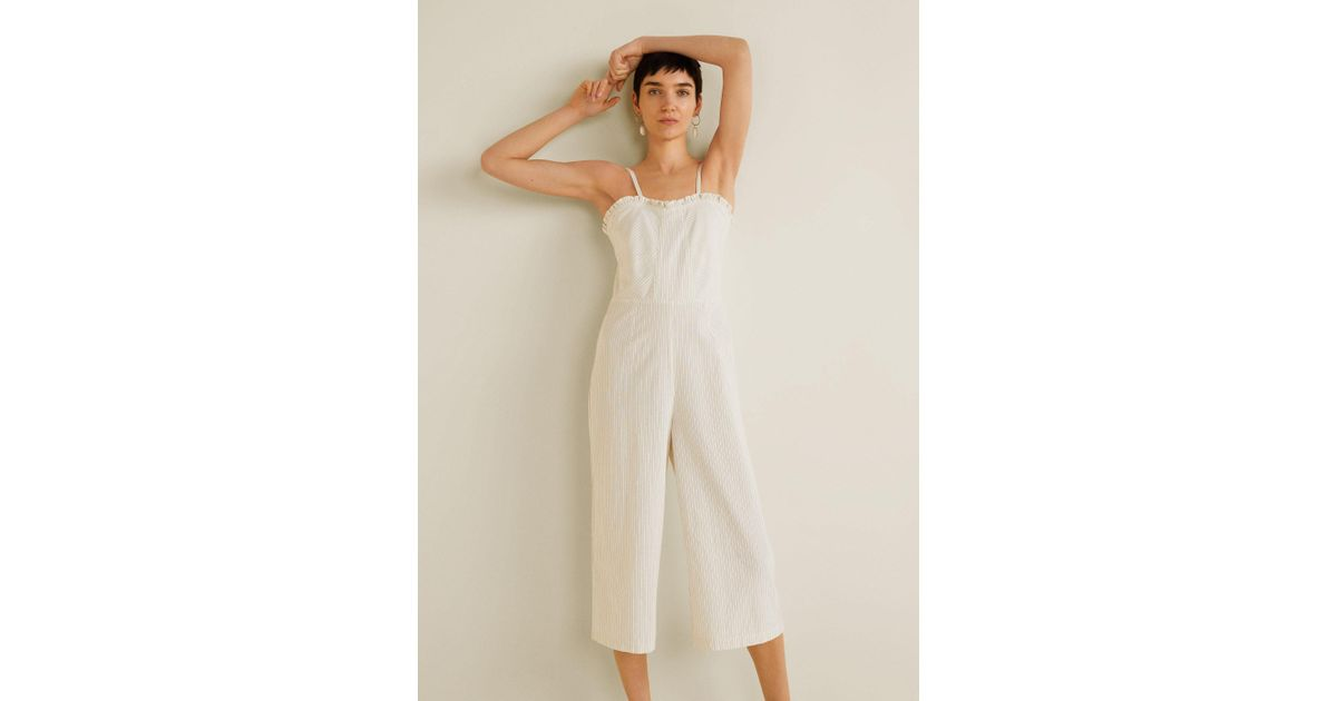 09b3298322f9 Mango Cropped Striped Jumpsuit in White - Lyst