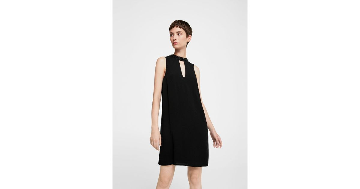 Lyst - Mango Crystal Collar Dress in Black e577735e5
