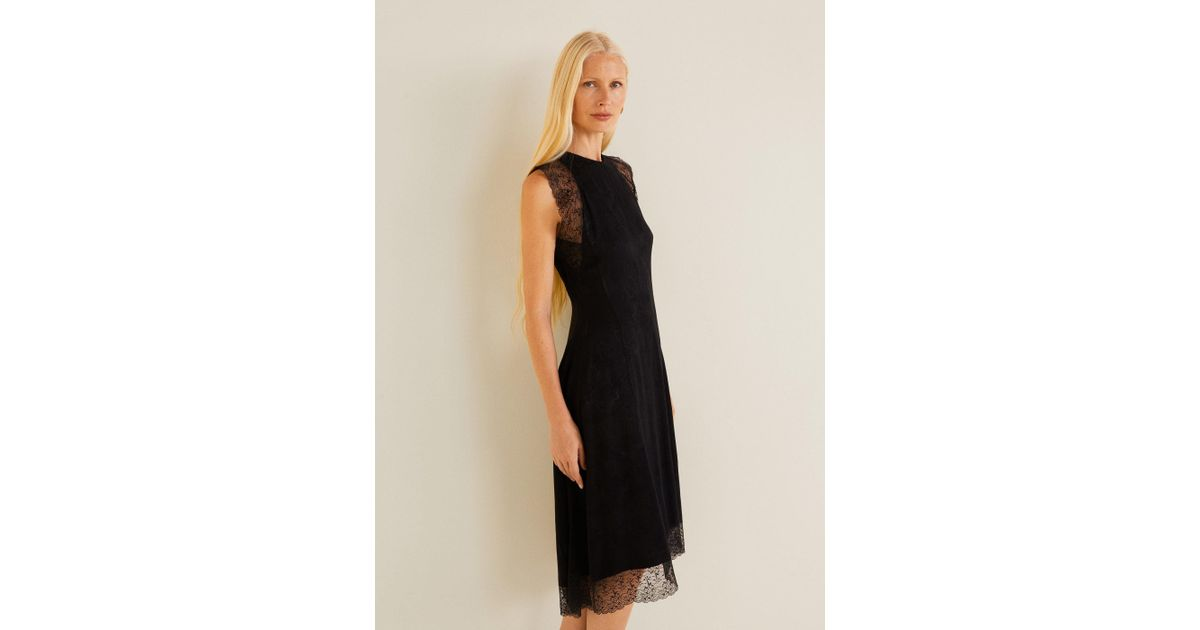 Mango Textured Jacquard Dress in Black - Lyst cada7dfb4
