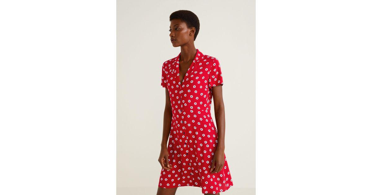 2bd7e9b95dd6 Mango Printed Shirt Dress in Red - Lyst