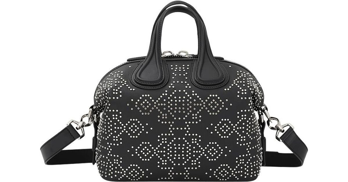 484fbf598208 Lyst - Givenchy Nightingale Small Studded Leather Bag in Black