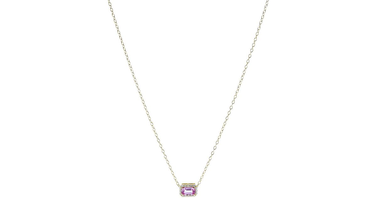 14K Gold Pink Sapphire and Diamond Necklace Alison Lou iH9zZfl