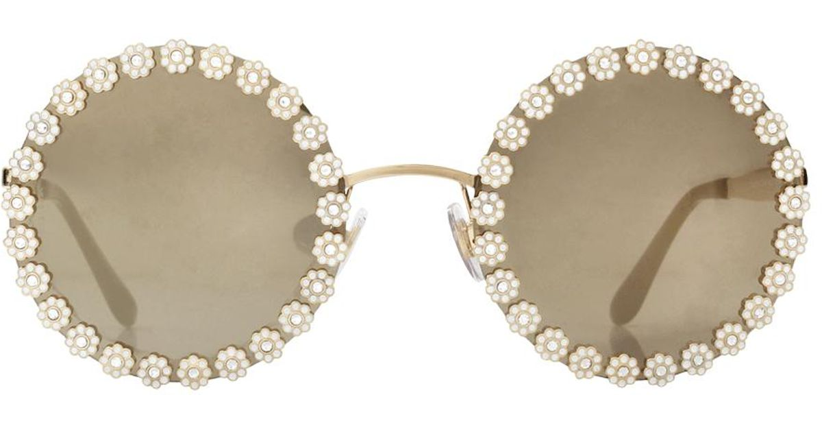 cc1fa590949e Lyst - Dolce   Gabbana Round Sunglasses Dg2173b 02 5a 56 in Metallic