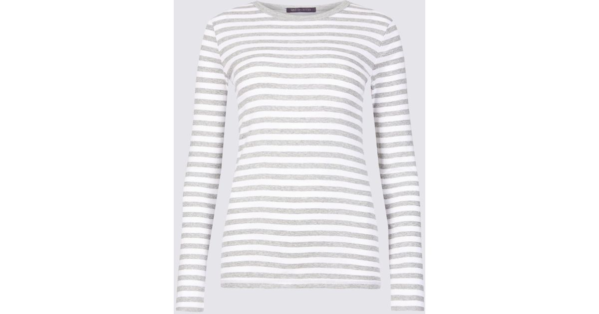 dec148a95 Marks & Spencer Pure Cotton Striped Regular Fit T-shirt in Gray - Lyst