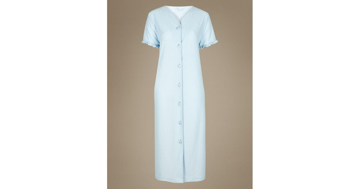Marks & Spencer Striped Short Sleeve Dressing Gown in Blue - Lyst