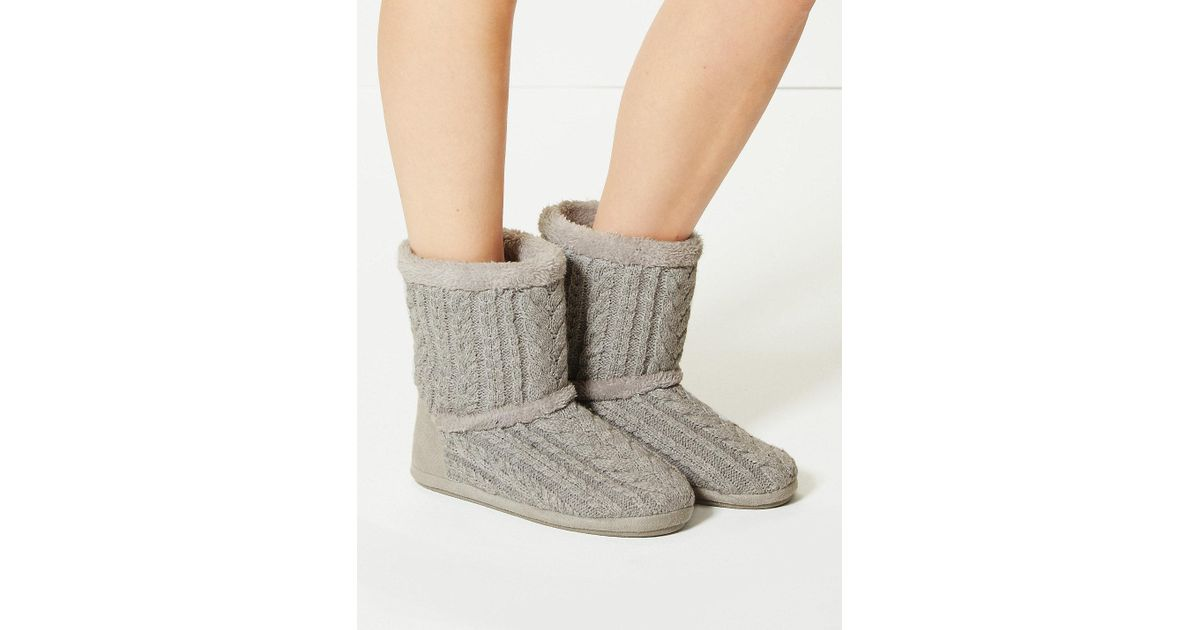 Lyst Marks Spencer Cable Knit Slipper Boots In Gray