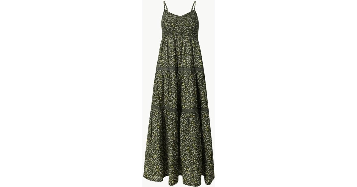 7ccea1430f1cc Marks & Spencer Pure Cotton Floral Print Swing Midi Dress in Green - Lyst