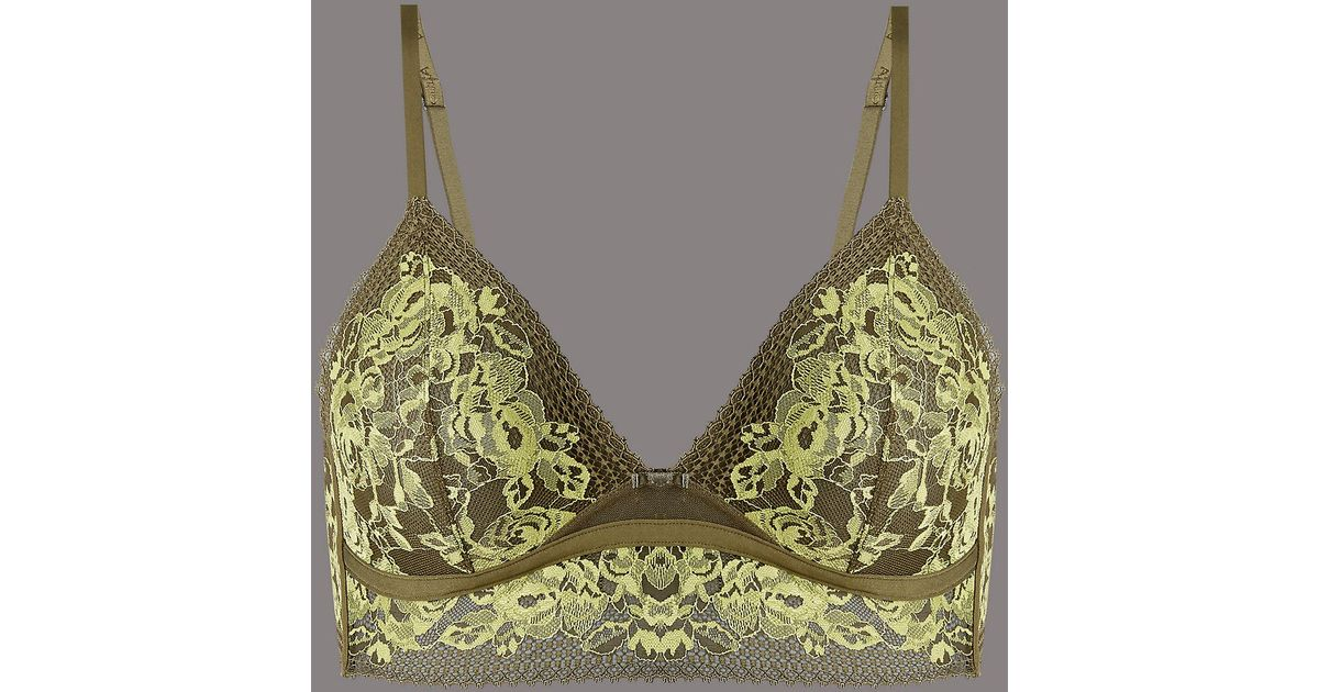 37f54c3222983 Marks   Spencer Lace Embroidered Non-padded Bralet - Lyst