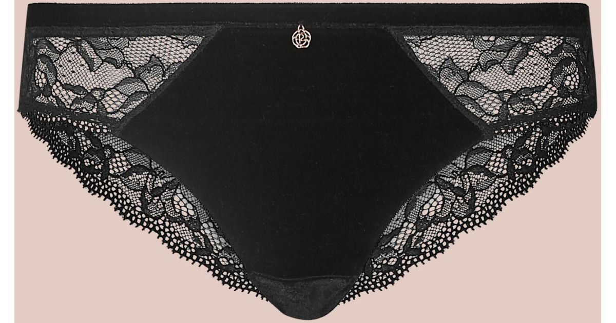 09ff3c5157bc Marks   Spencer Velvet Lace Brazilian Knickers in Black - Lyst