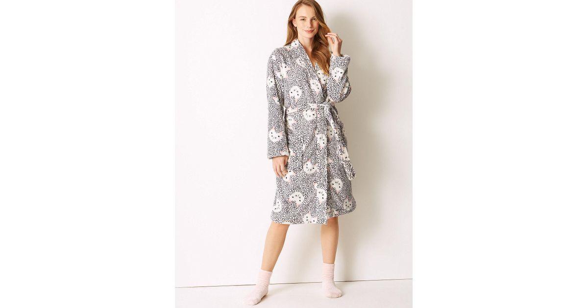 d947b1d925 Lyst - Marks   Spencer Fleece Cat Kimono Print Dressing Gown