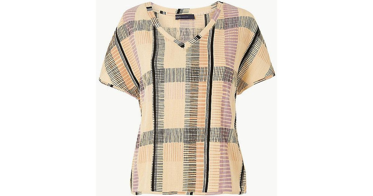 27ec3e83 Lyst - Marks & Spencer Checked V-neck Short Sleeve Top in Natural