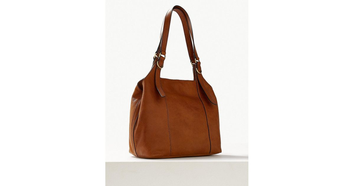 Lyst - Marks   Spencer Leather 3 Compartment Hobo Bag in Brown 3b2aac786a6fe