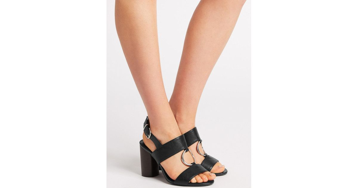 24dddc44a Marks & Spencer Wide Fit Block Heel Two Band Ring Sandals in Black - Lyst
