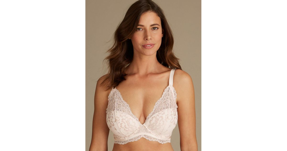 5337c8b0f5d77 Lyst - Marks   Spencer Louisa Lace Sparkle Padded Plunge Bra DD-GG