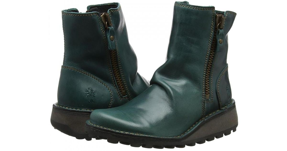 c9dda3bb43300 Fly London Mong Leather Zip Up Wedge Ankle Boots in Green - Lyst