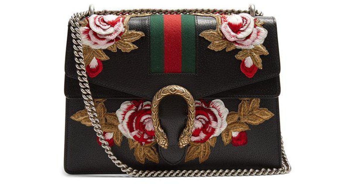 cbf78a3c0 Gucci Dionysus Floral-embroidered Leather Shoulder Bag in Black - Lyst