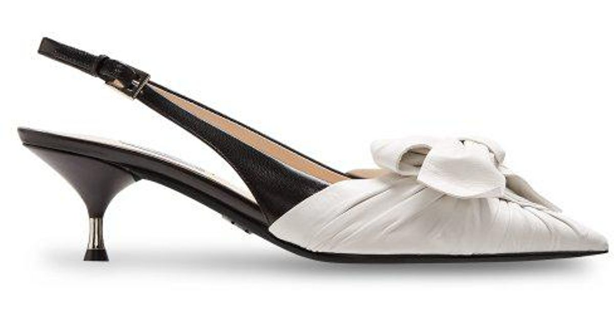fe93c7bbe Prada Bow-front Leather Slingback Pumps in White - Lyst