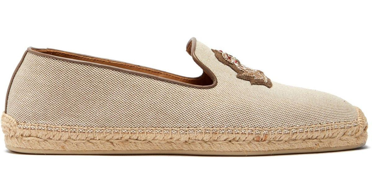 ab91770c9 Lyst - Christian Louboutin Nanou Orlato Zardozi Crest Canvas Espadrilles in  Natural for Men - Save 35%