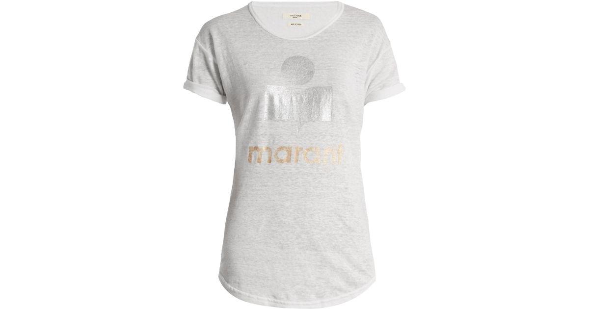 Lyst Toile Isabel Marant Koldi Logo Print Linen T Shirt