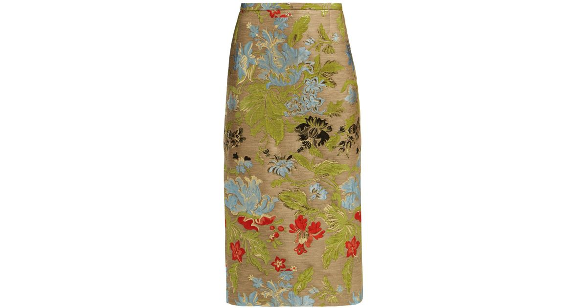 595add91ef Rochas Ononi High Rise Floral Brocade Pencil Skirt in Green - Lyst