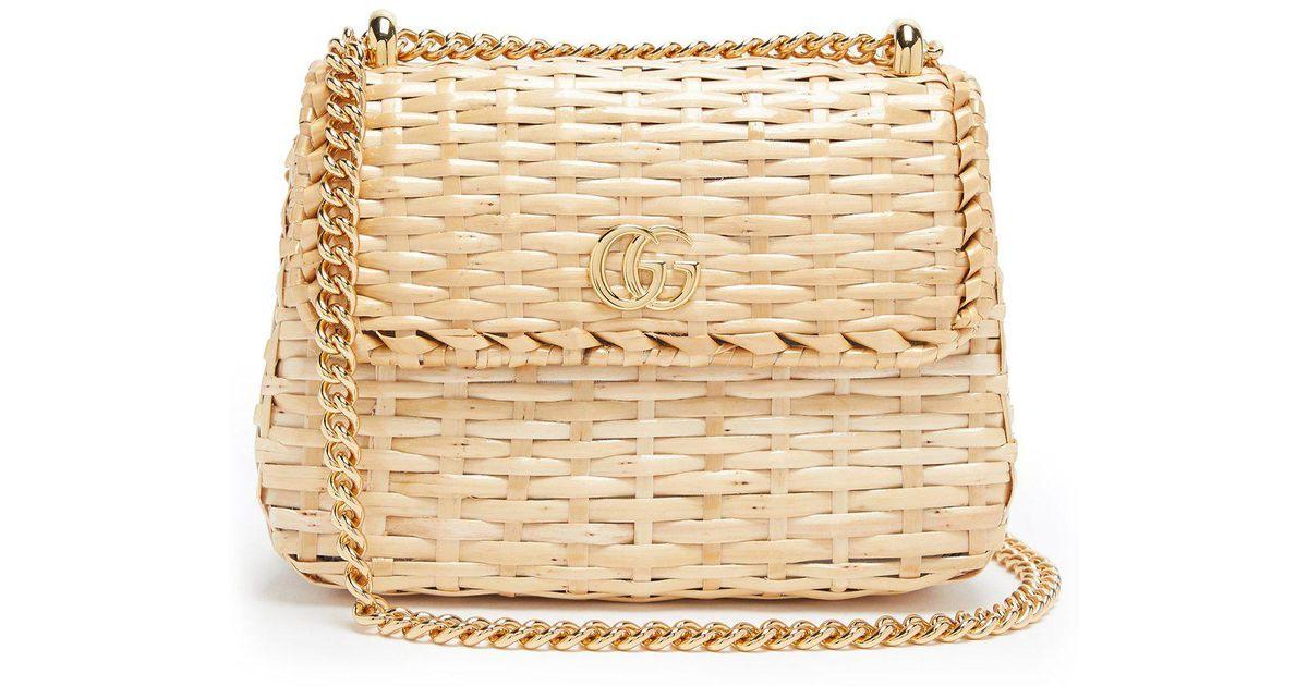 50511bcec Gucci Cestino Wicker Cross Body Bag in Natural - Lyst