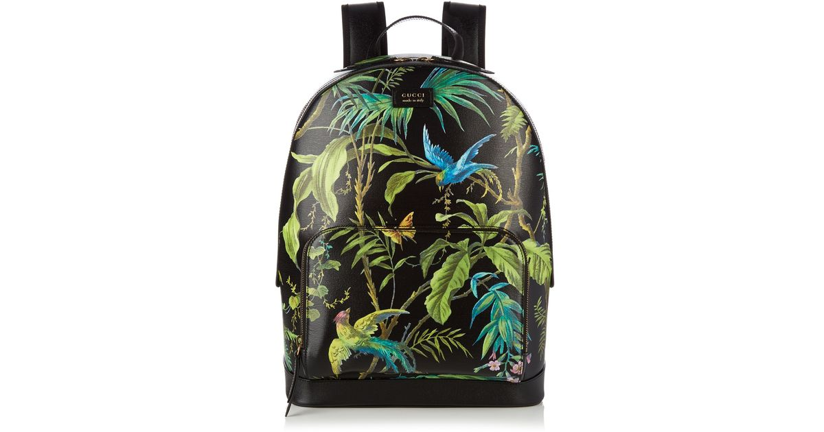 43061aec4186 Gucci Tropical-Print Leather Backpack in Black for Men - Lyst