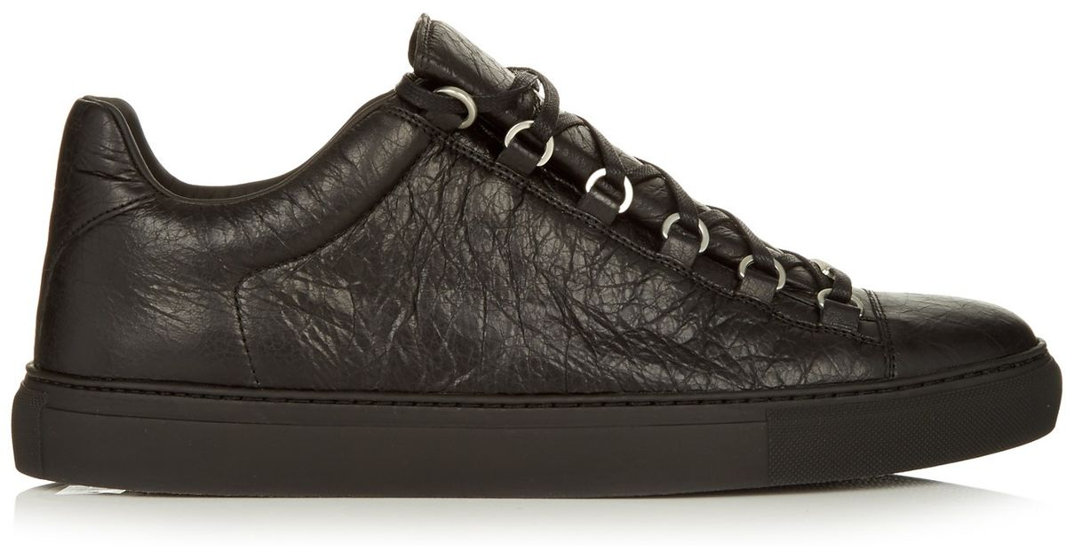 balenciaga arena low top leather trainers in black for men save 8 lyst. Black Bedroom Furniture Sets. Home Design Ideas