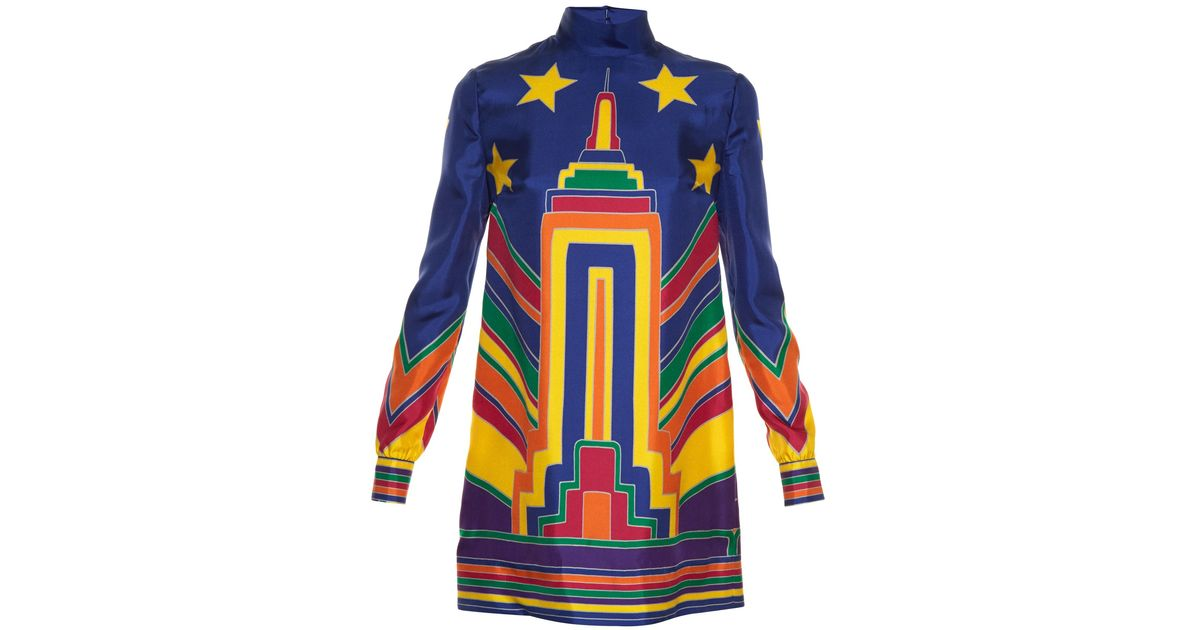 e59196c3c70 Lyst - Valentino Skyline-print Silk-Twill Tunic Dress in Blue