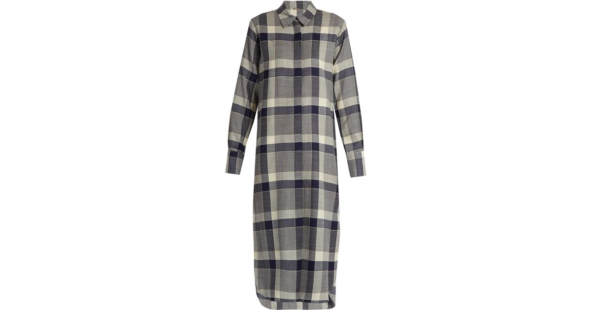Adam lippes long sleeved checked wool shirtdress in blue for Adam lippes women s long sleeve vee t shirt