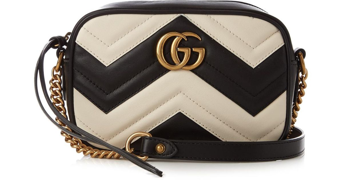 166f85907 Gucci Gg Marmont Mini Quilted-leather Cross-body Bag in White - Lyst