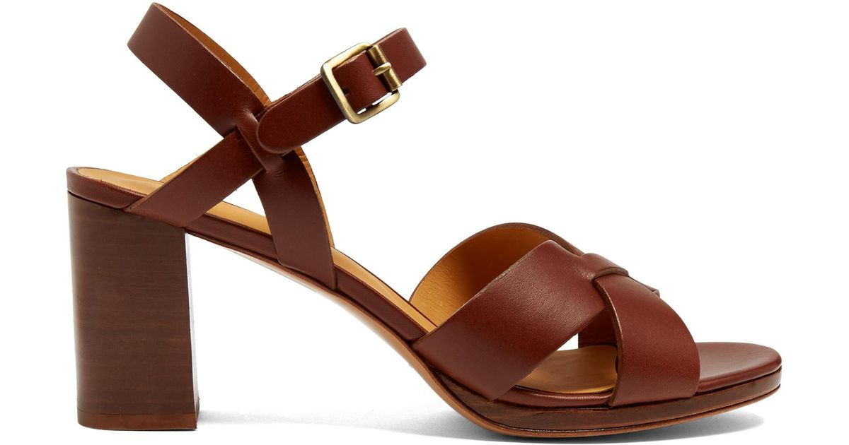 2008d6f9ea36 Lyst - A.P.C. Opéra Block-heel Leather Sandals in Brown