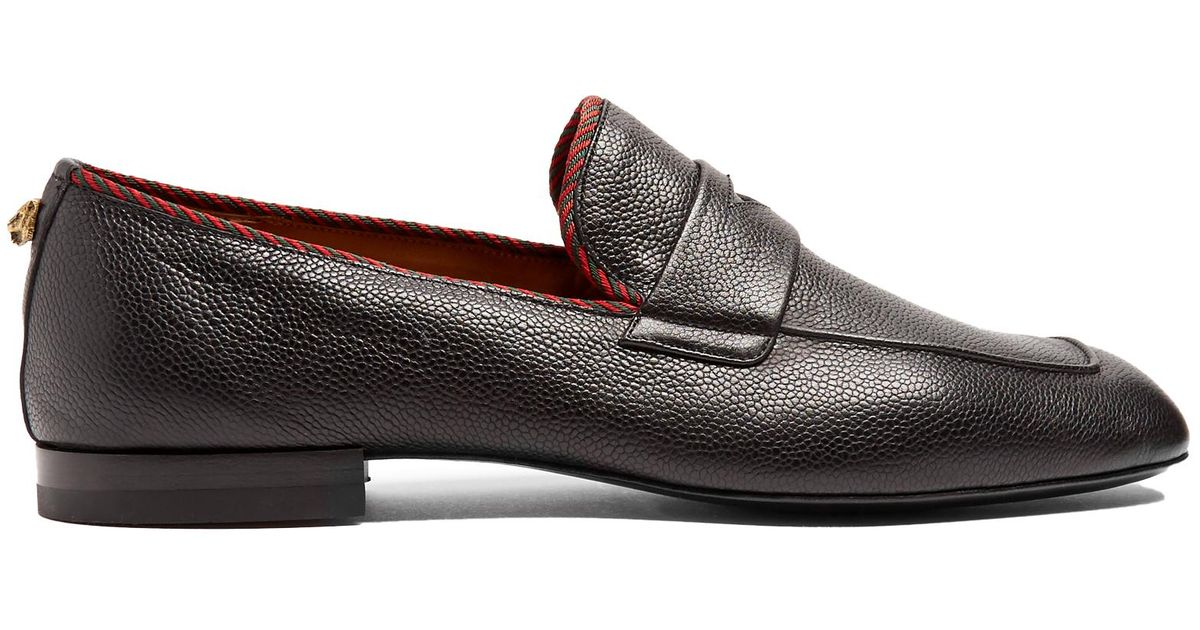 8c9ed67fc5d Lyst - Gucci Valentin Grained-leather Loafers in Black for Men