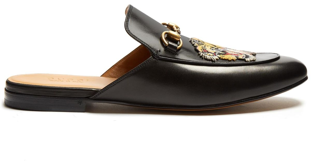 4c194e731 Gucci Tiger-head Embroidered Backless Loafers in Black for Men - Lyst