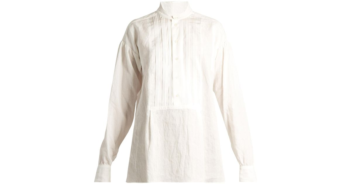 joseph maine pleated bib vintage linen blouse in white lyst