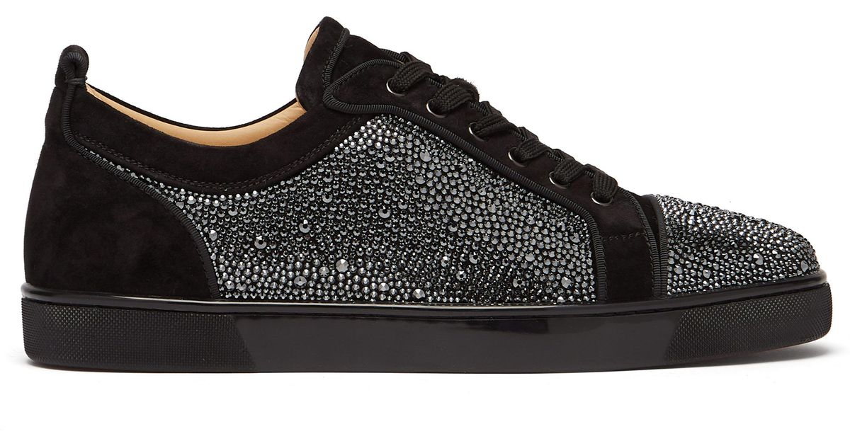 065abe385 Christian Louboutin Louis Junior Crystal-embellished Trainers in Black for  Men - Lyst