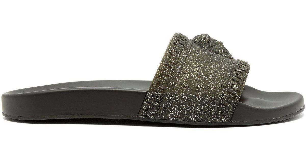 f5e79dde0369 Lyst - Versace Medusa Glitter-covered Rubber Slides in Black for Men