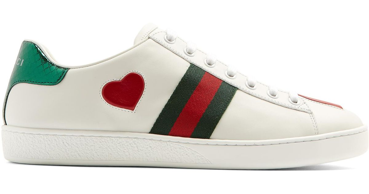 6e5f7d8e788 Gucci New Ace Heart-appliqué Leather Trainers in White - Lyst