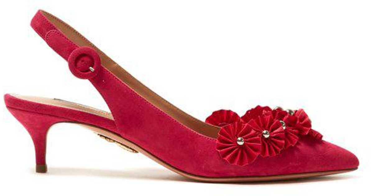 Clearance Prices Cheapest Price Cheap Online Aquazzura Exotic embellished slingback suede pumps FpwOqi544