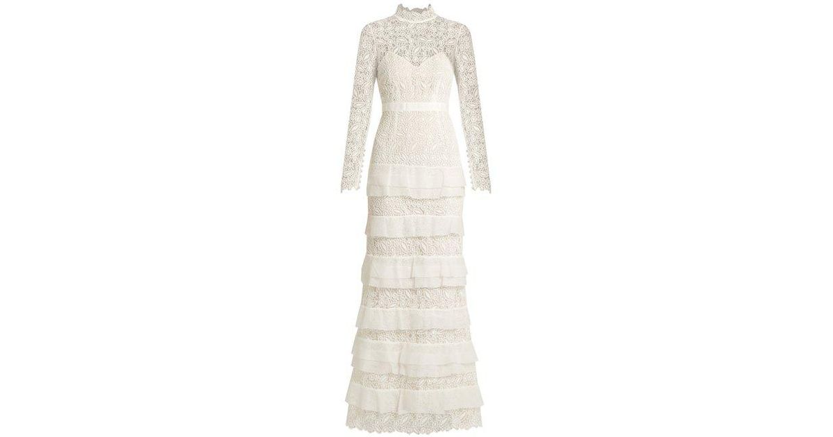 5b1d6435a314b Self-Portrait Primrose Tiered Crepon And Guipure-lace Gown in White - Lyst