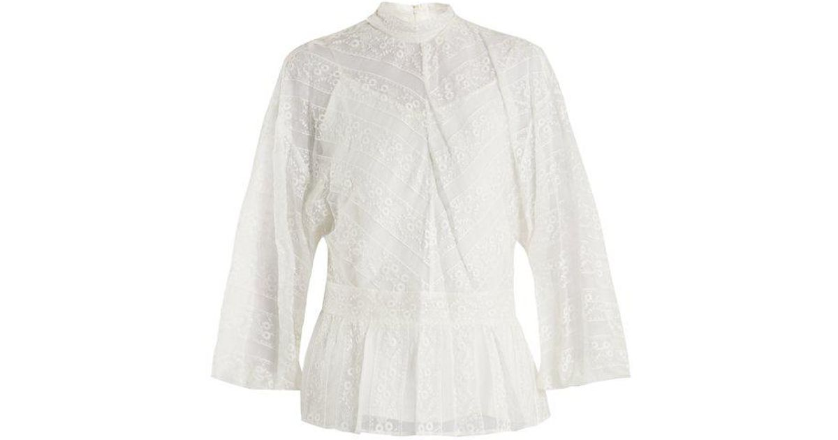 Footlocker Pictures Sale Online Peplum-hem floral-embroidered silk blouse Muveil Free Shipping Find Great fpO3bf