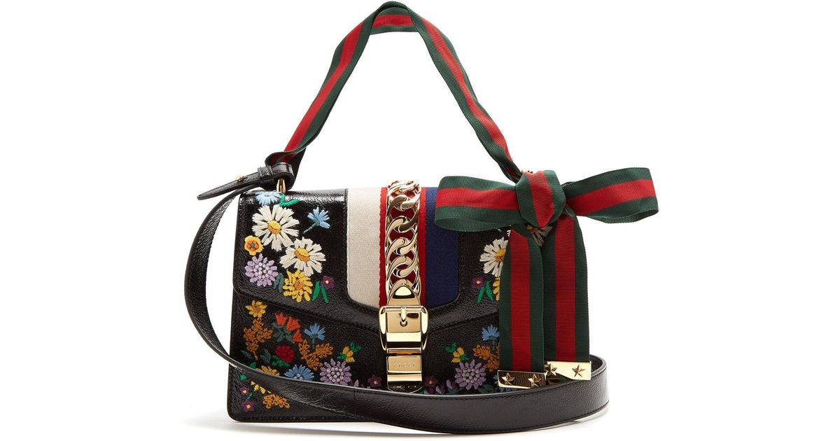 66a2f62d2c69 Lyst - Gucci Sylvie Embroidered Leather Shoulder Bag in Black