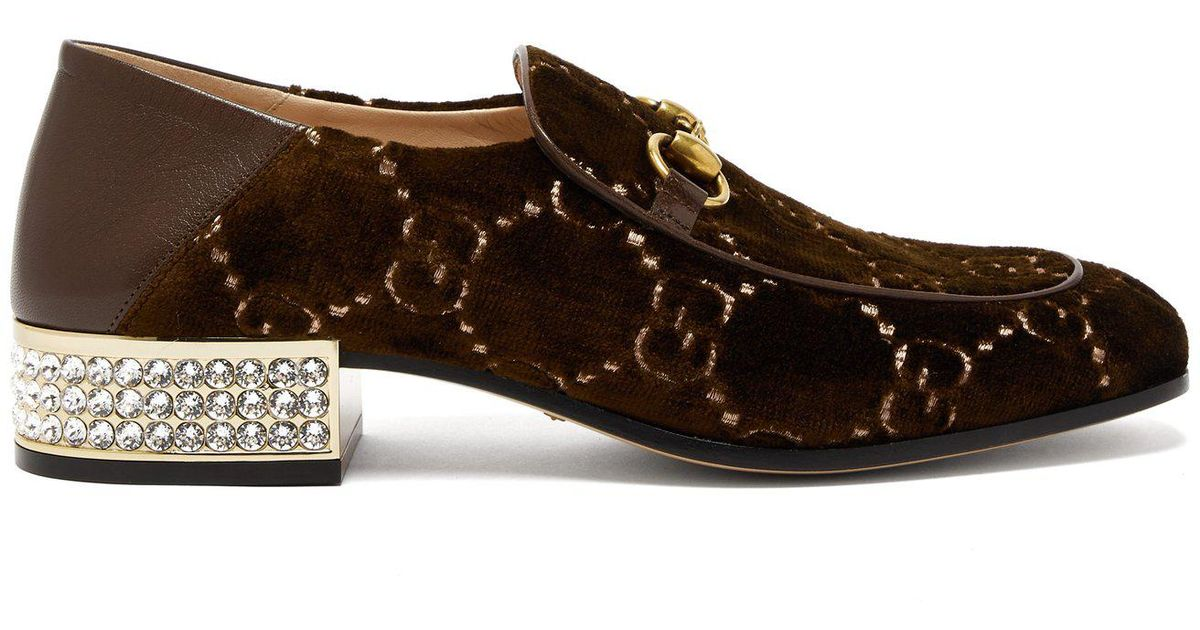 5eb186b57d2 Lyst - Gucci Mister Gg Crystal Embellished Velvet Loafers in Brown