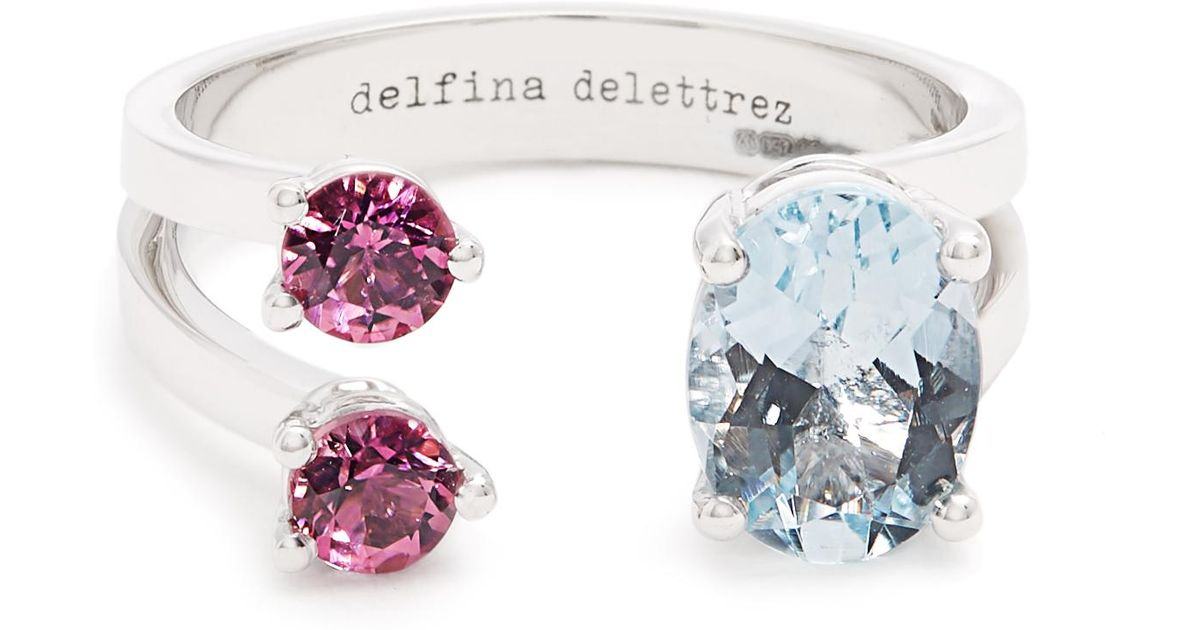 18-karat White Gold, Aquamarine And Tourmaline Ring - 4 Delfina Delettrez