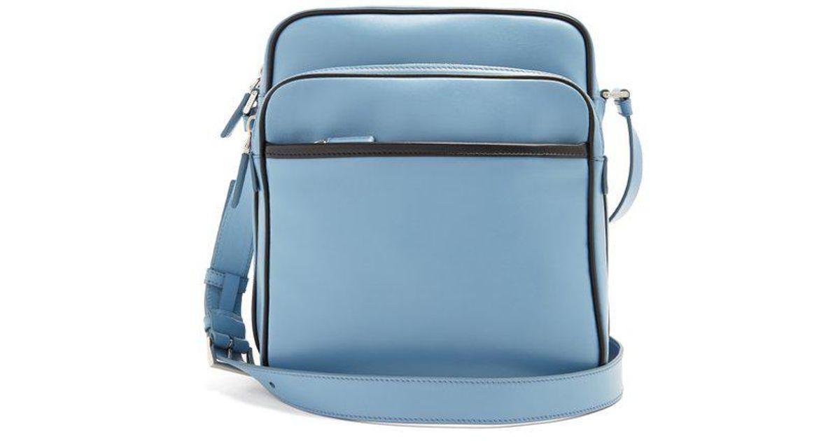 49f15866bbe778 ... uk lyst prada calf leather messenger bag in blue for men 971f3 39b80