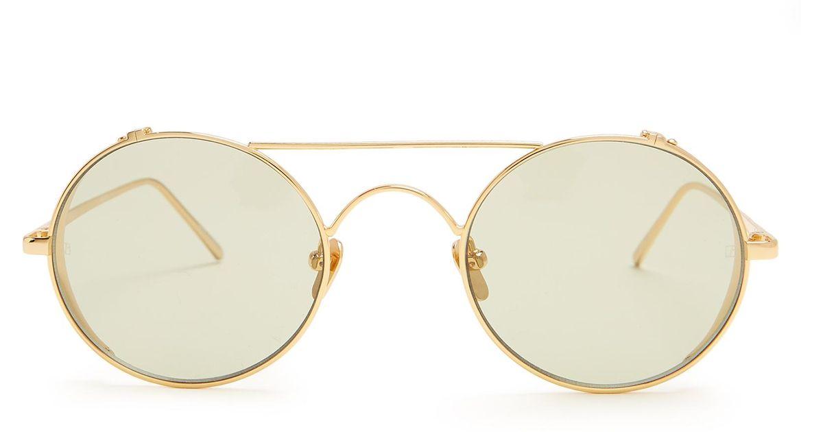 cdb753c1ada1 Lyst - Linda Farrow Round-frame Yellow-gold Plated Sunglasses in Metallic
