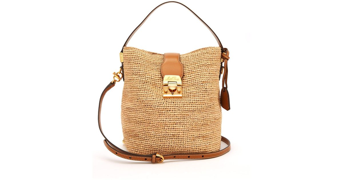 487ae47d1d Mark Cross Murphy Raffia Bucket Bag - Lyst
